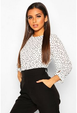White Polka Dot Bow Sleeve Woven Bodysuit