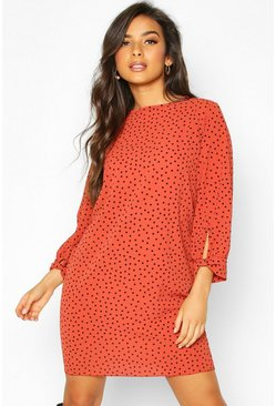 Polka Dot Bow Sleeve Woven Shift Dress, Rust, Donna