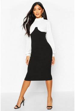 Womens Black Contrast Bust Seam High Neck Midi Dress