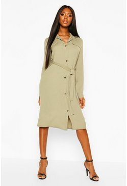 Khaki Utility Wrap Over Woven Shift Midi Dress