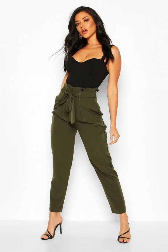 Khaki Paper Bag Tailored Trouser