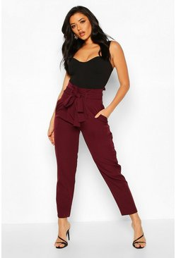 Wine Paper Bag Tailored Trouser