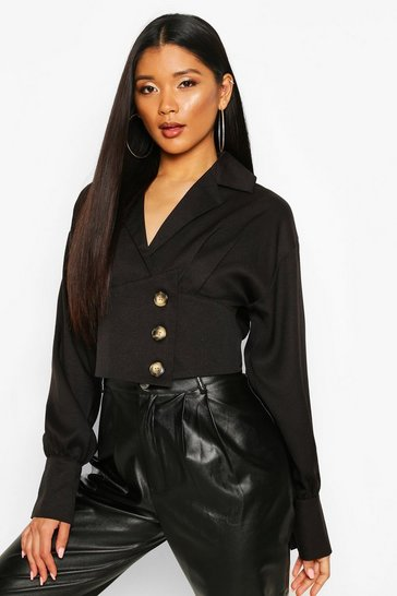 Black Button Side Structured Top