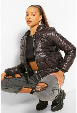 Womens Black Hooded Cire Puffer Jacket