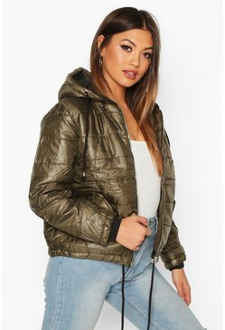 Khaki Hooded Cire Puffer Jacket