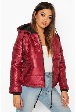 Wine Hooded Cire Puffer Jacket