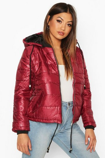 Womens Wine Hooded Cire Puffer Jacket
