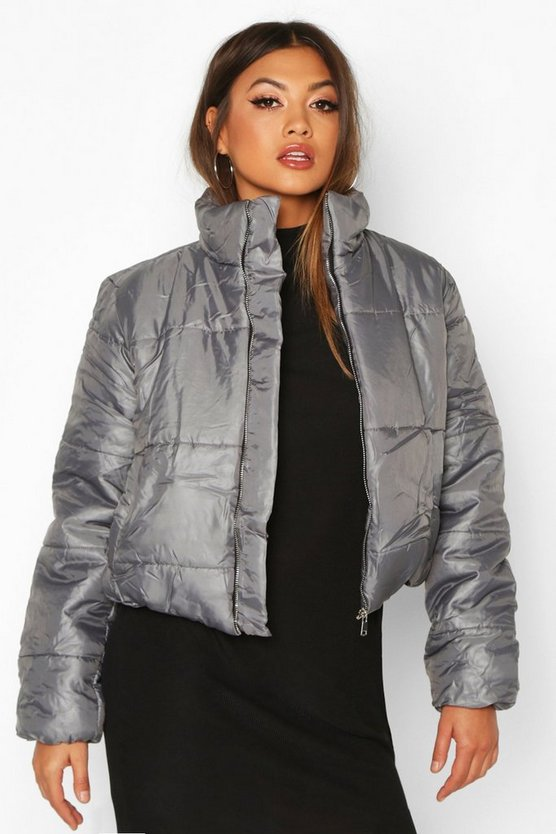 Womens Grey Funnel Neck Puffer Jacket