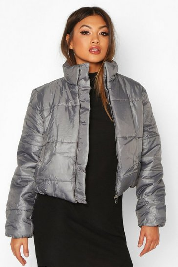 Grey Funnel Neck Puffer Jacket