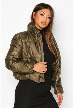 Womens Khaki Funnel Neck Puffer Jacket