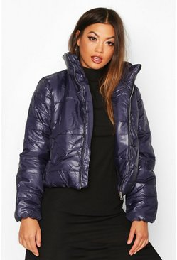 Womens Navy Funnel Neck Puffer Jacket