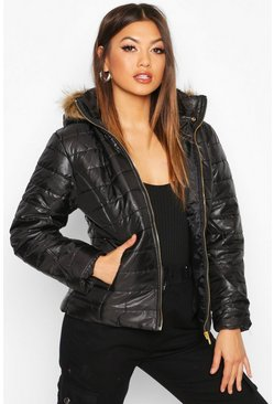 Dam Black Faux Fur Trim Puffer Jacket