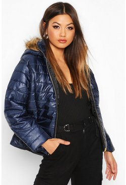 Dam Navy Faux Fur Trim Puffer Jacket