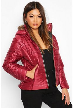 Wine Faux Fur Trim Puffer Jacket