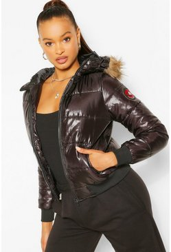 Womens Black Hooded Faux Fur Trim Puffer