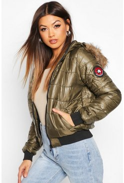 Womens Khaki Hooded Faux Fur Trim Puffer