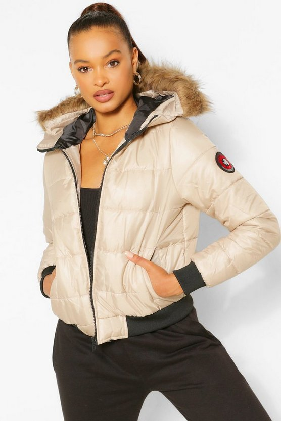 Womens Stone Hooded Faux Fur Trim Puffer