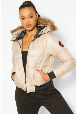 Stone Hooded Faux Fur Trim Puffer