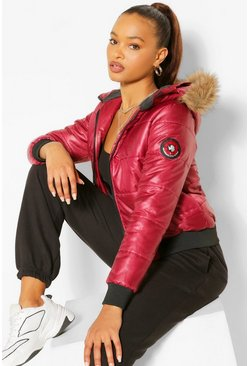 Womens Wine Hooded Faux Fur Trim Puffer