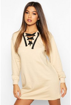 Tie Detail Sweat Dress, Stone, Donna