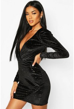 Womens Black Glitter Velvet Full Sleeve Mini Dress