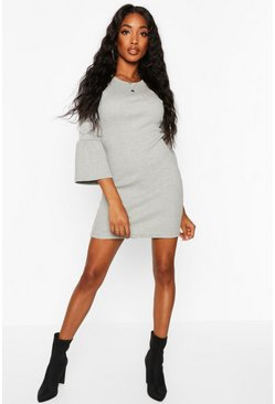 Rib Flare Sleeve Midi Dress, Grey marl, Donna