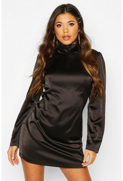 Satin Rouche High Neck Shift Dress, Black