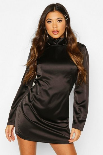 Womens Black Satin Rouche High Neck Shift Dress
