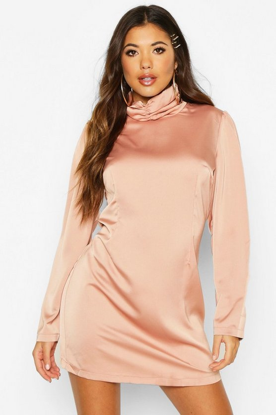 Rose Satin Rouche High Neck Shift Dress