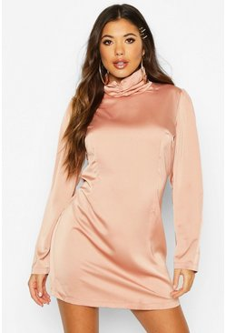 Womens Rose Satin Rouche High Neck Shift Dress