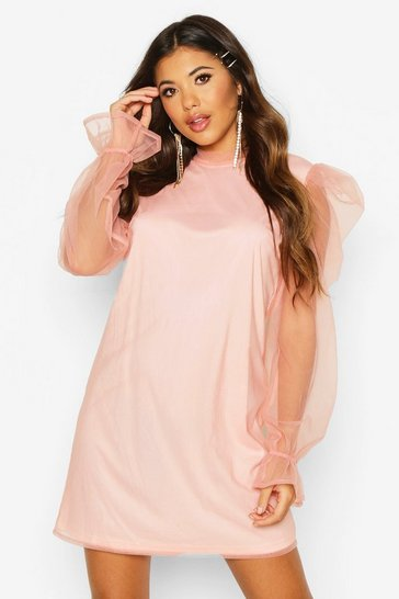 Pink Organza Sleeve High Neck Shift Dress