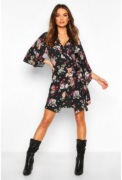 Womens Black Woven Floral Wrap Tea Dress