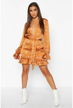 Floral Check Plunge Tea Dress, Mustard, Donna