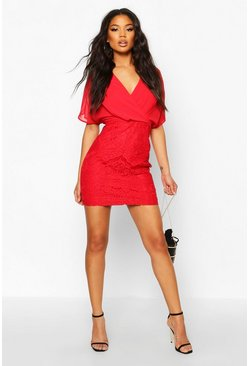 Red Wrap Chiffon Lace Mini Dress