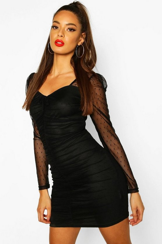 Dobby Mesh Ruched Mini Dress