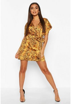 Womens Mustard Satin Snake Print Wrap Front Mini Dress
