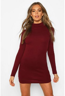 Womens Berry Long Sleeve Rib Cut Out Mini Dress
