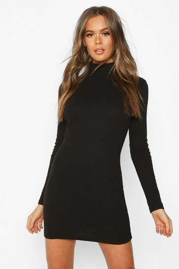 Womens Black Long Sleeve Rib Cut Out Mini Dress