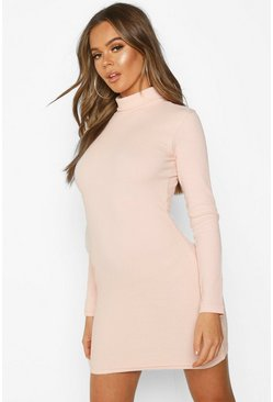 Rose Long Sleeve Rib Cut Out Mini Dress