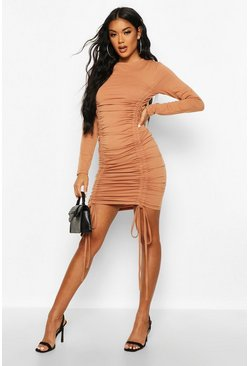 Womens Mocha Ruched Detail Jersey Dress