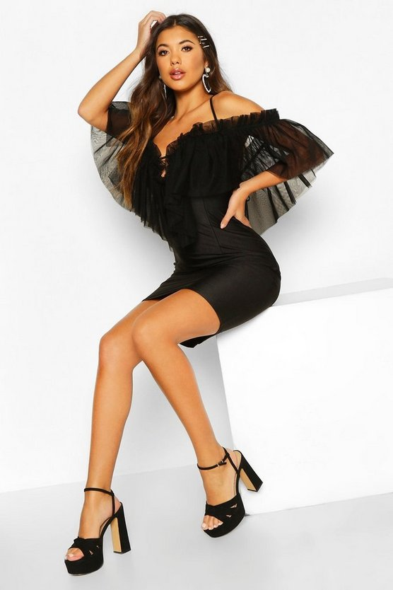 Womens Black Organza Mesh Bodycon Dress