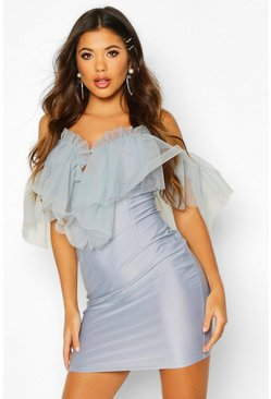 Blue Organza Mesh Bodycon Dress