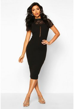 Womens Black High Neck Lace Trim Midi Dress