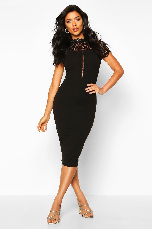 High Neck Lace Trim Midi Dress | boohoo Australia