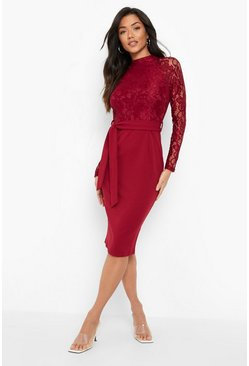 Berry High Neck Long Sleeve Lace Midi Dress
