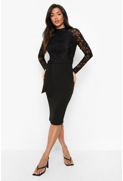 Womens Black High Neck Long Sleeve Lace Midi Dress