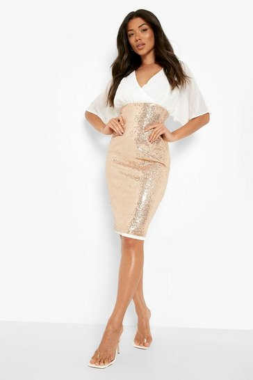 Womens Rose gold Batwing Top Sequin Skirt Midi