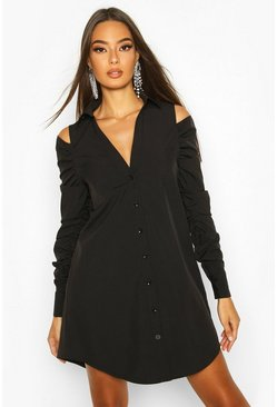 Black Cold Shoulder Ruched Sleeve Shirt Dress