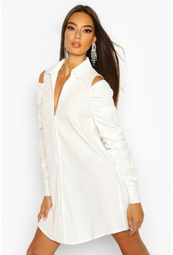 White Cold Shoulder Ruched Sleeve Shirt Dress