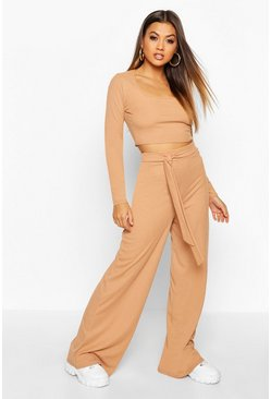 Rib Square Neck Top And Wide Leg Trouser Co-Ord, Camel